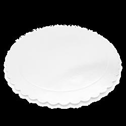 Base redonda rizada de carton blanca brillante, presentacion tartas y postres