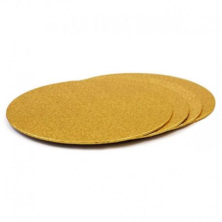Base redonda fina oro, bases tartas