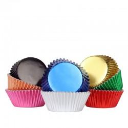 Cápsulas aluminio colores metálicos, moldes magdalenas cupcakes, pirotines, PME