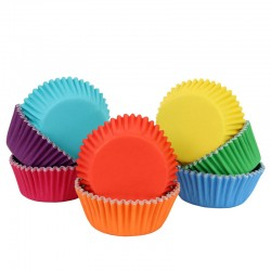 Cápsulas aluminio colores arcoiris, moldes magdalenas cupcakes, pirotines, PME