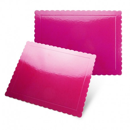 Base rectangular rizada fucsia brillante, Pastkolor