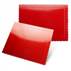 Base rectangular rizada roja brillante, Pastkolor