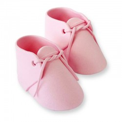 Decoración de azúcar Patuco bebé rosa x 2u