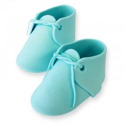 Decoración de azúcar Patuco bebé azul x 2u