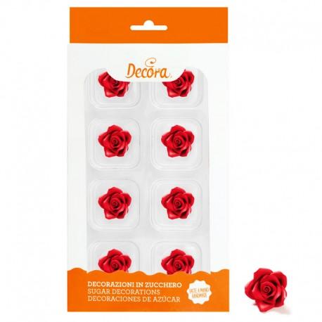 Flores de azúcar Rosas rojas, Decora