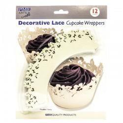 Envoltorio cupcakes flores marfil, PME