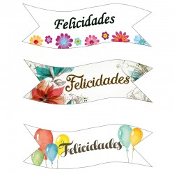 Decoracion de azúcar BANDERAS FELICIDADES x 5u