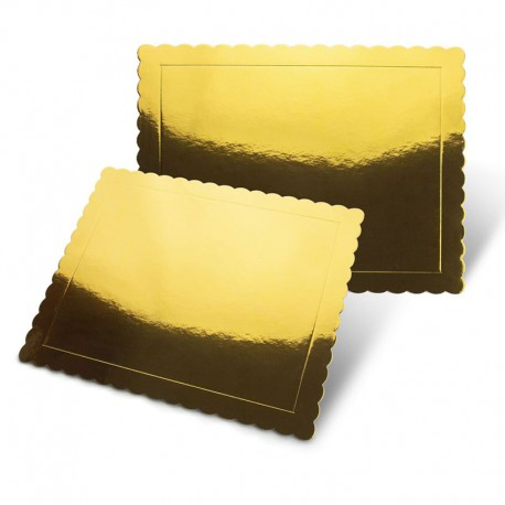Base rectangular rizada oro, Pastkolor