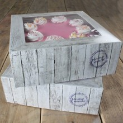 SET 2 Cajas para Tartas MADERA 32x32x11 cm