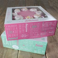 SET 2 Cajas para Tartas QUOTES 26x26x12 cm