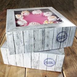 SET 2 Cajas para Tartas MADERA 26x26x12 cm
