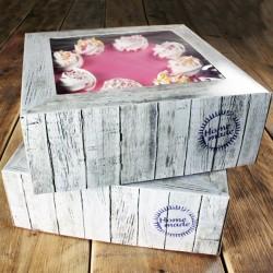 SET 2 Cajas para Tartas MADERA 21x21x9 cm