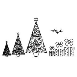 Patchwork con motivos de la navidad: arbol de navidad, lazos