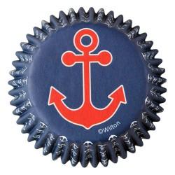 Cápsulas motivo marinero diseño ancla x 75 Wilton