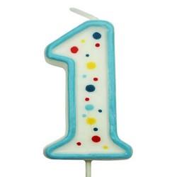 Vela de cumpleaños número 1 de PME, color blanco y azul