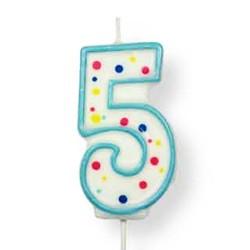 Vela de cumpleaños número 5 de PME, color blanco y azul
