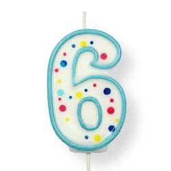 Vela de cumpleaños número 6 de PME, color blanco y azul