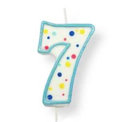Vela de cumpleaños número 7 de PME, color blanco y azul