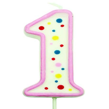 Vela de cumpleaños número 1 de PME, color blanco y rosa