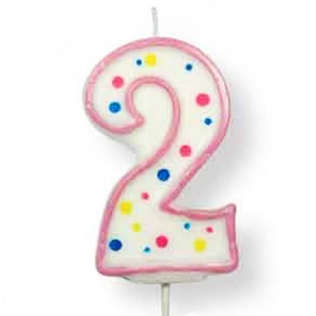 Vela de cumpleaños número 2 de PME, color blanco y rosa