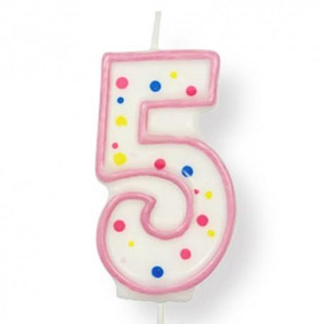 Vela de cumpleaños número 5 de PME, color blanco y rosa