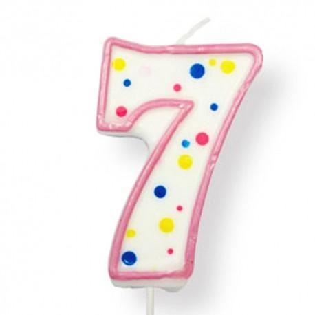 Vela de cumpleaños número 7 de PME, color blanco y rosa