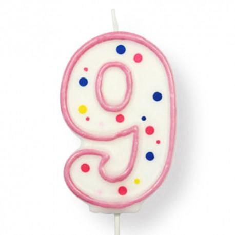 Vela de cumpleaños número 9 de PME, color blanco y rosa
