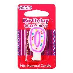 Vela pequeña de cumpleaños Nº 0 de Culpitt, color blanco y rosa