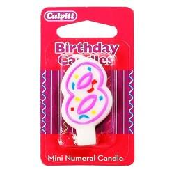 Vela pequeña de cumpleaños Nº 8 de Culpitt, color blanco y rosa