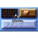 Molde de silicona rectangular con texto I Love Chocolate Alphabet Moulds