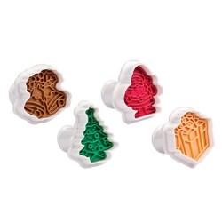 Cortantes con expulsor y sello marcador con motivos de navidad, 4 uds. Tescoma