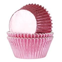 cupcakes, moldes cupcakes, magdalenas, Capsulas House Of Marie rosa bebe aluminio x 24 ud.