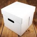 caja tartas, caja carton, Funcakes. Caja cuadrada para tartas, color blanco 25x25x25 cm.