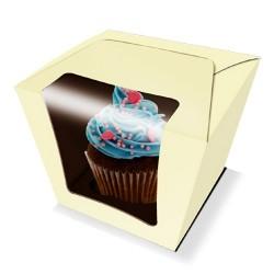 Caja cupcake Castaño champagne 7x7x8 cm