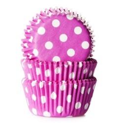 MINI CAPSULAS ROSA con LUNARES BLANCOS, house of marie, mini cupcakes, magadalenas