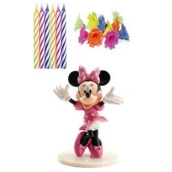 VELAS MINNIE MOUSE KIT DECORACION, dekora, velas fiesta de cumpleaños