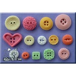 Molde de silicona diseño de botones costura Alphabet Moulds
